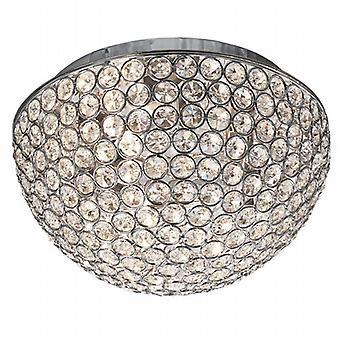 Chantilly 3 Chrome lumineux encastré avec boutons de cristal clair