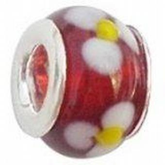 Toc Beadz Red Daisy 8mm Glass Slide-On & Slide-Off Bead