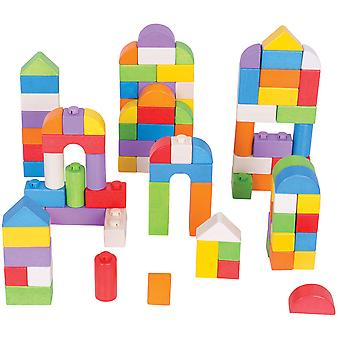 Bigjigs Toys Wooden Coloured Click Blocks (100 Pieces) Stacking Blocks