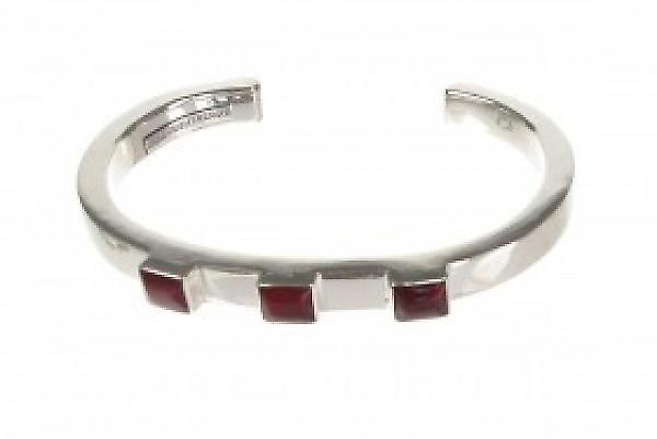Cavendish French Silver and Red Jasper Squares Bangle