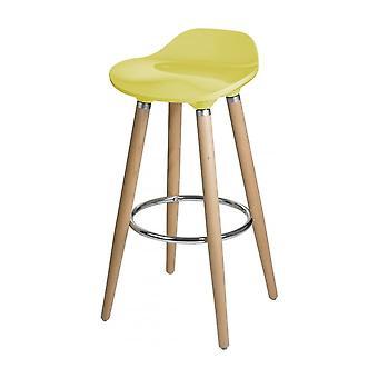 Fusion Living Mustard Yellow Plastic Bar Stool With Beech Wood Legs
