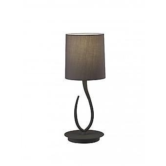 Mantra Lua Table Lamp 1 Light E27, Small Ash Grey With Ash Grey Shade