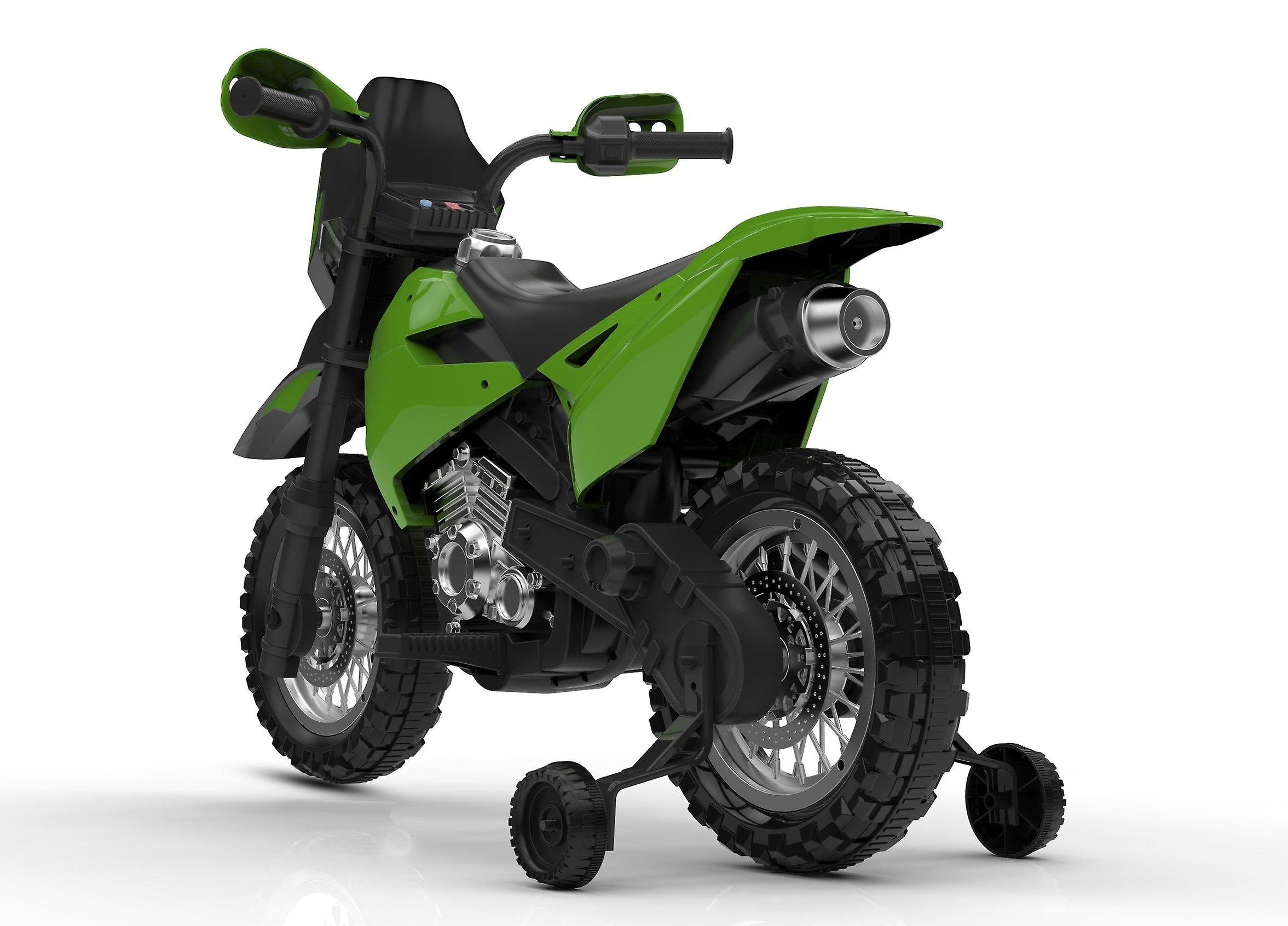 Rideontoys4u 6V Electric Ride On Motorbike With Removable Stabilisers Green