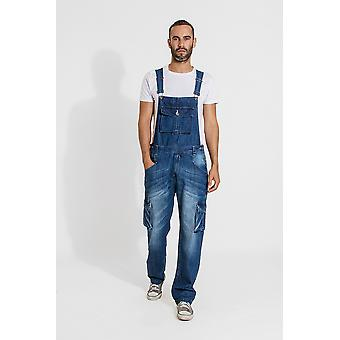 Bill mens denim dungarees with roll up leg - midwash