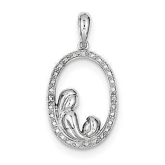 925 Sterling Argento lucidato Rhodium placcato Rhodium Plated Diamond Madre e per ragazzi o ragazze ciondolo