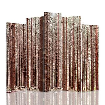 Decorative Room Divider, 5 Panels, Double-Sided, Canvas, Larch Forest