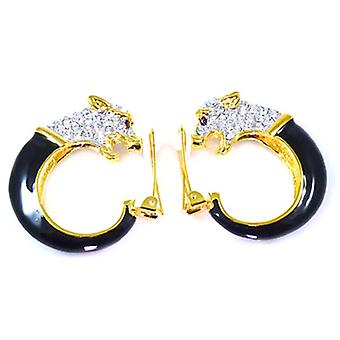 Kenneth Jay Lane Crystal Panther Hoop Earrings
