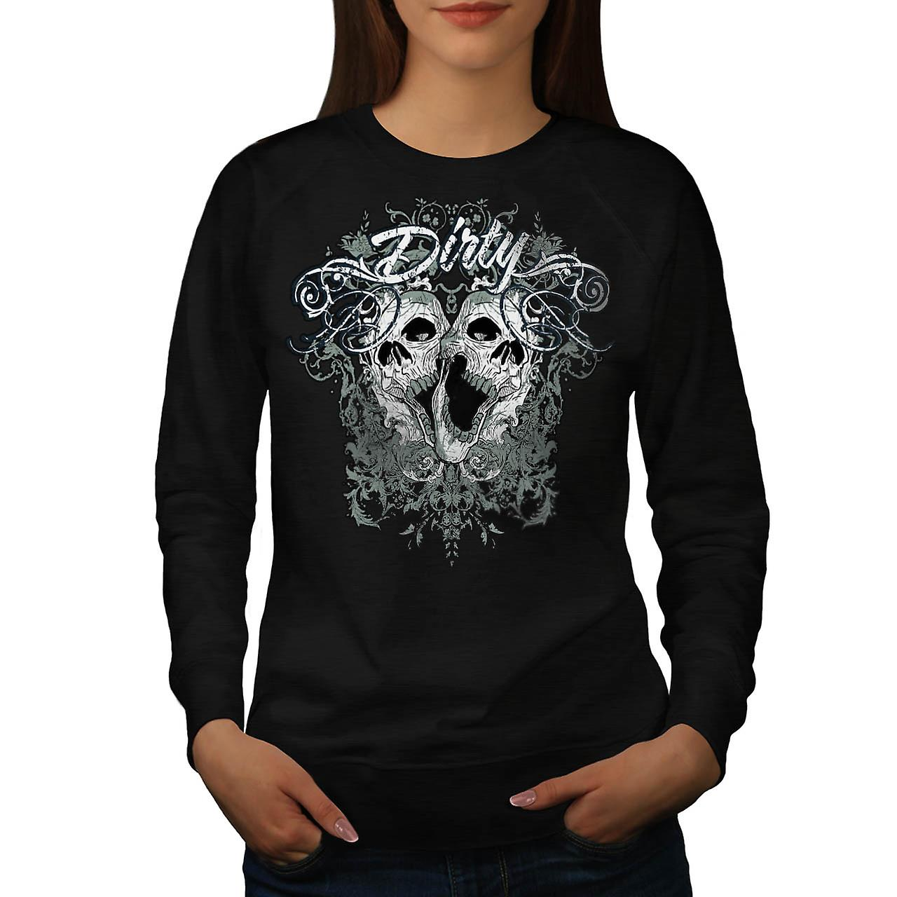 Dirty Metal Goth Skull Women Black Sweatshirt | Wellcoda