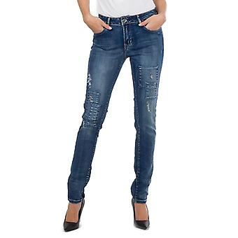 Riss Distressed verblasste Skinny Stretch-Jeans - blau