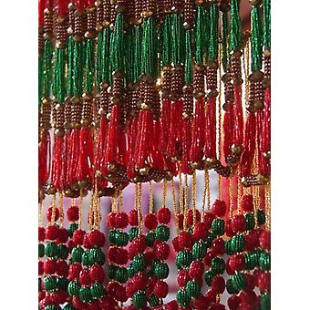 Beads hang in a store in Kathmandu Nepal Poster Print by David H Wells