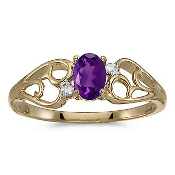 10k Yellow Gold ovale Amethyst And Diamond Ring