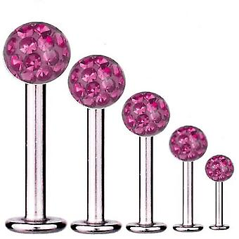 Labret Bar Tragus Piercing Titan 1,6 mm, Multi Kristall Kugel Pink | 5 - 16 mm