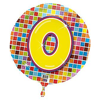 Foil balloon birthday number 0 disco helium balloon 43 cm balloon