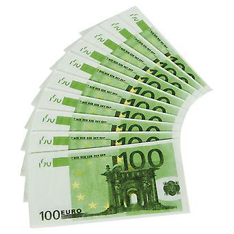 Servetter 10st 100 Euro Bill förfalskade dekoration party play pengar