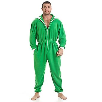 Camille Mens All In One Green Fleece Hooded Pocketed Pyjama Onesie Size S-5XL