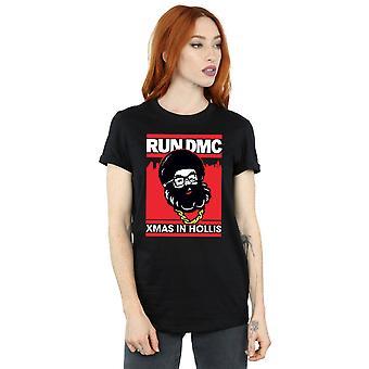 Run DMC Women's Santa Christmas Boyfriend Fit T-Shirt