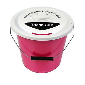 3 Charity Money Collection Buckets 5 Litres - Pink