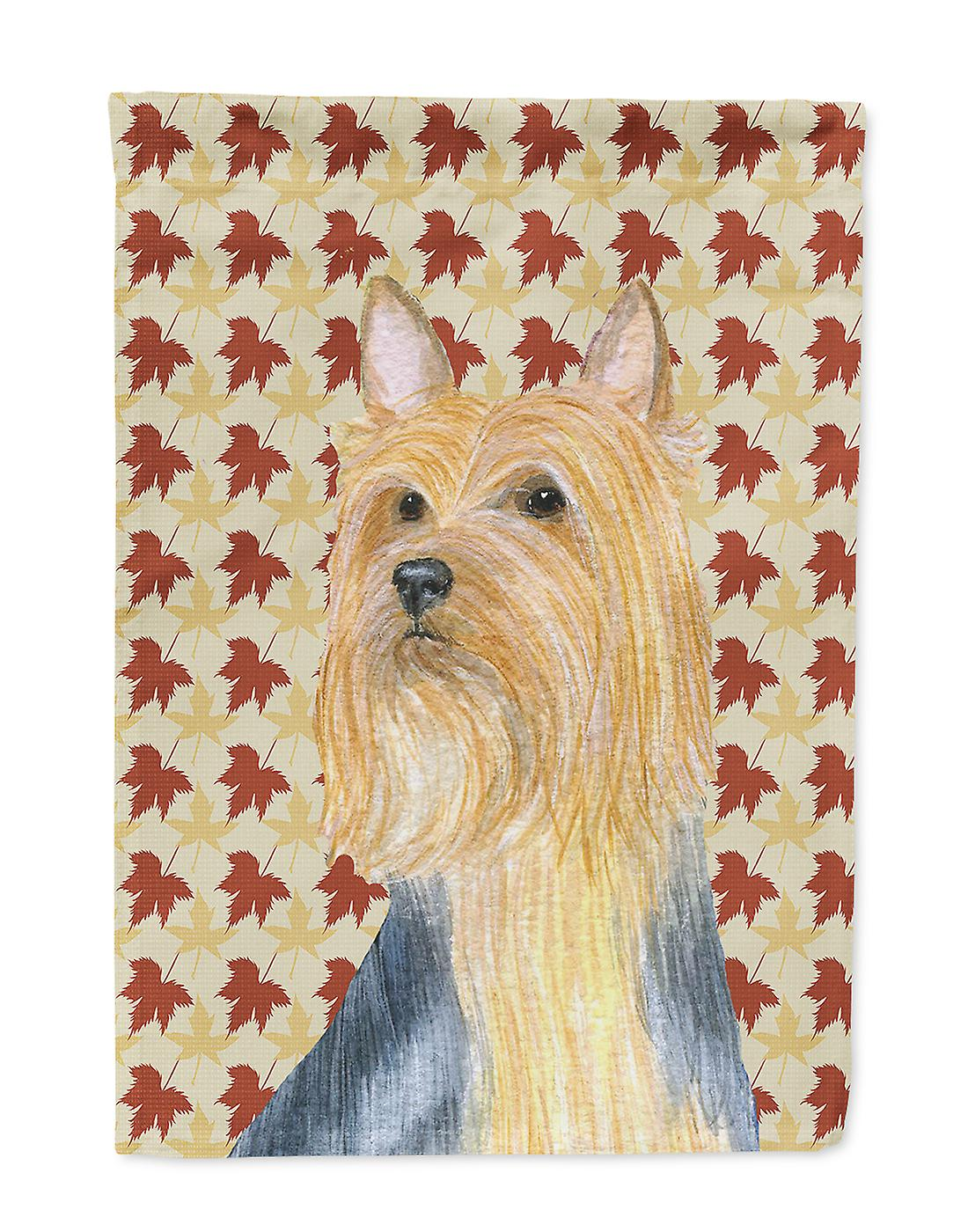 Carolines Treasures  LH9091-FLAG-PARENT Silky Terrier Fall Leaves Portrait Flag