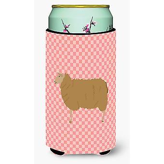 East Friesian Sheep Pink Check Tall Boy Beverage Insulator Hugger