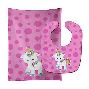 Carolines Treasures  BB6805STBU Pink Polkadot Unicorn Baby Bib & Burp Cloth