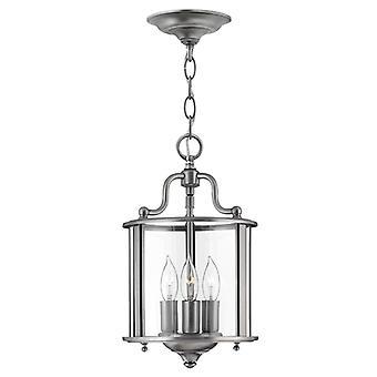 HK/GENTRY/P/S PW Gentry 3 Light Pewter Round Hanging Ceiling Lantern