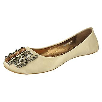 Ladies Spot On Flat Casual Ballerina with Chain and Jewel Vamp