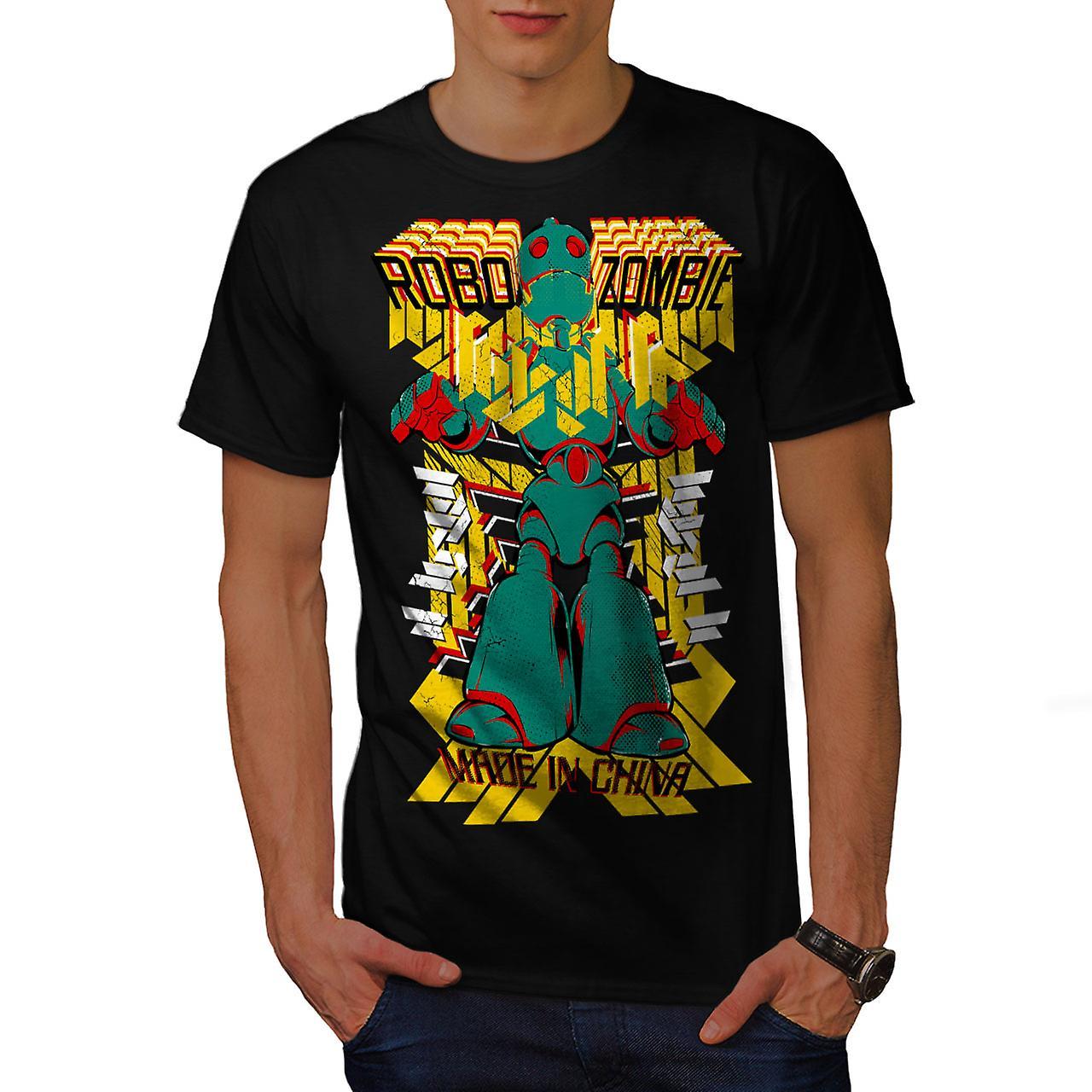 Robot Fashion Cool Zombie Men Black T-shirt | Wellcoda