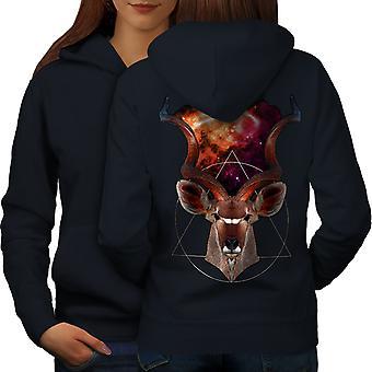Deer Cosmos Space Animal Women NavyHoodie Back | Wellcoda