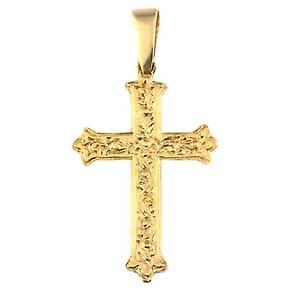 9ct Gold 37x26mm Fancy embossed pattern Cross with bail