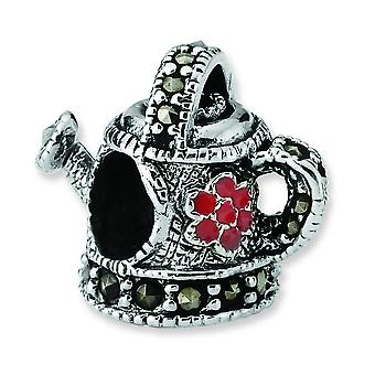 Sterling Silver Antique finish Reflections Enameled Marcasite Watering Can Bead Charm