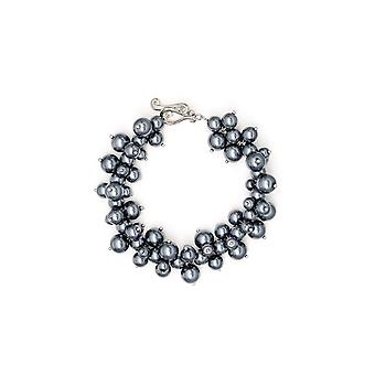 Bracelet Multi beads silver gray and Rhodium plate
