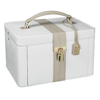 Leather Large Cream/Mink Jewellery Box with Padlock