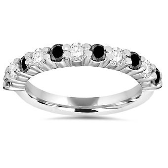 5 / 8CT czarna idealna White Diamond Wedding Ring 14K białe złoto