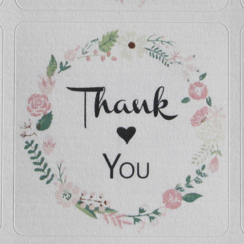 Floral Wreath Thank You Sticker Sheet  - 35 square stickers - Wedding / Craft