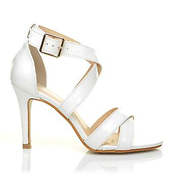 SOPHIE White Patent PU Leather Strappy High Heel Sandals