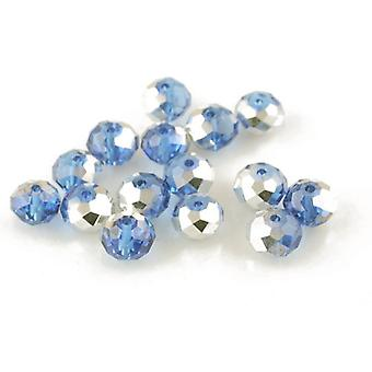 95+ Blue/Silver Czech Crystal Glass 4 x 6mm Faceted Rondelle Beads HA20445