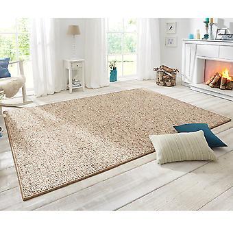 Design gulvtæppet wolly i uld optik beige Brown