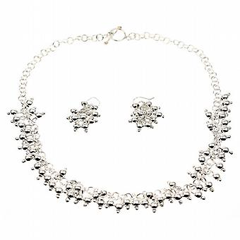 Silver Droplets Necklace and Earrings Set