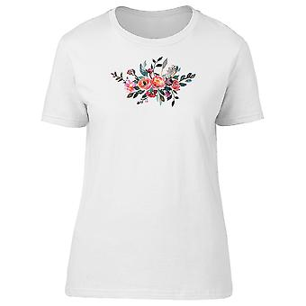 Peony Pink Coral Grey Flowers Tee Women's -Image by Shutterstock