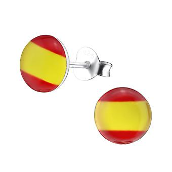 Spanish Flag - 925 Sterling Silver Colourful Ear Studs