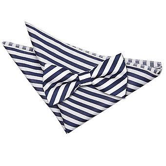 Witte & marineblauw Thin Stripe strikje & zak plein instellen
