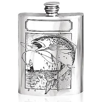 Fishing Pewter Hip Flask - 6oz