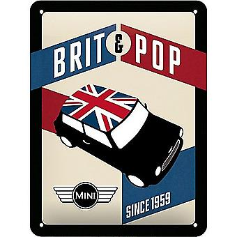 Mini Brit & Pop Small Metal Sign 200Mm X 150Mm