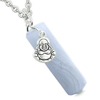Happy Laughing Buddha Magic Powers Amulet Crystal Point Pendant Blue Lace Agate 18 inch Necklace