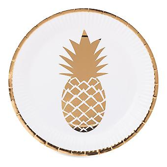 White Pineapple Paper Plate with Gold Foil Pineapple x 8