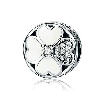 Sterling silver charm Clovers of love