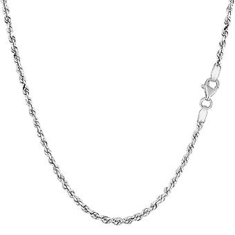14k weiß Solid Gold Diamanten geschnitten Seil Kette Halskette, 2,0 mm