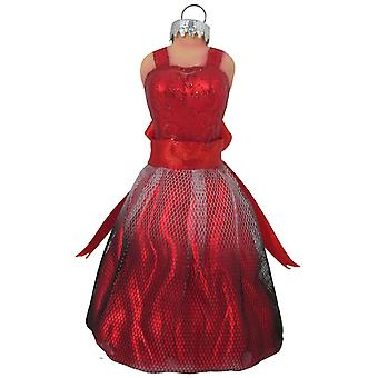 Christmas By Krebs Red Party Dress Holiday Ornament Glass
