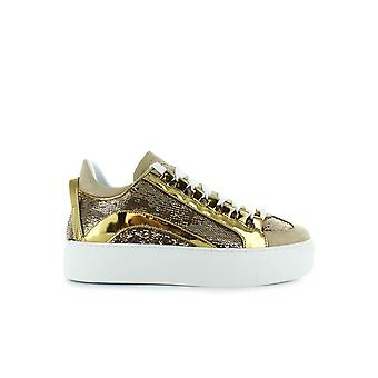 DSQUARED2 551 HIGH SOLE GOLDEN SEQUINS SNEAKERS