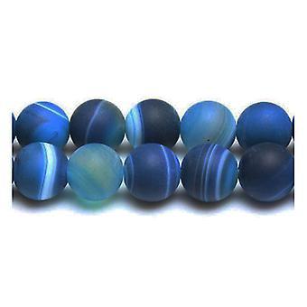 Strand 38 + blauw Frosted gestreepte Agaat 10mm platte ronde kralen GS17102-2